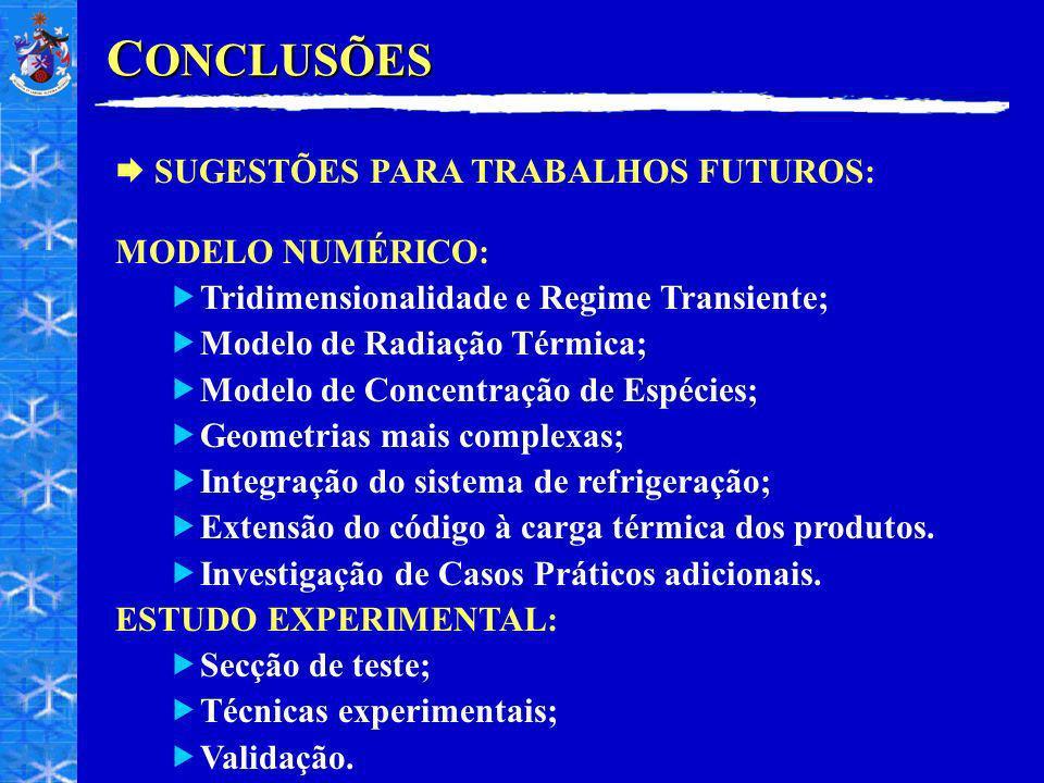 C ONCLUSÕES SUGESTÕES PARA TRABALHOS FUTUROS: MODELO NUMÉRICO: Tridimensionalidade e Regime Transiente; Modelo de Radiação Térmica; Modelo de Concentração de Espécies; Geometrias mais complexas; Integração do sistema de refrigeração; Extensão do código à carga térmica dos produtos.