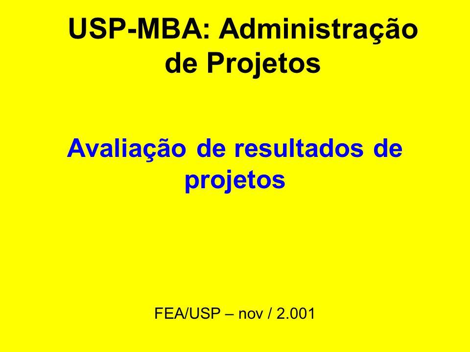 USP-MBA: Administração de Projetos Avaliação de resultados de projetos FEA/USP – nov / 2.001
