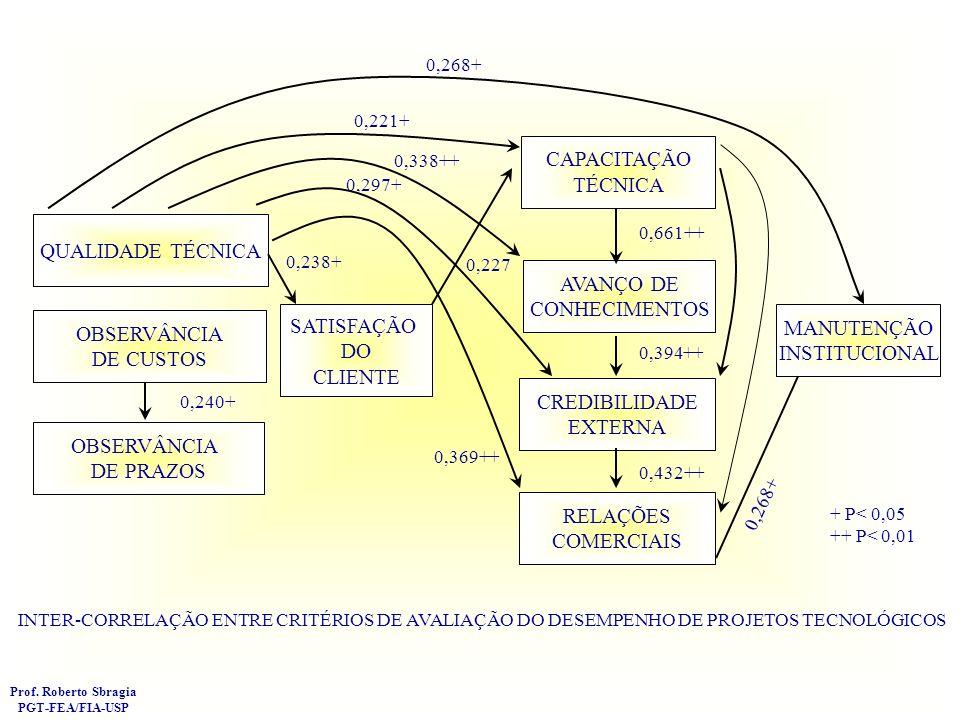 DIMENSÕES DO SUCESSO DE PROJETOS EFICÁCIA ORGANIZACIONAL VALIDADE TÉCNICA VALIDADE PARA O USUÁRIO Prof. Roberto Sbragia PGT-FEA/FIA-USP