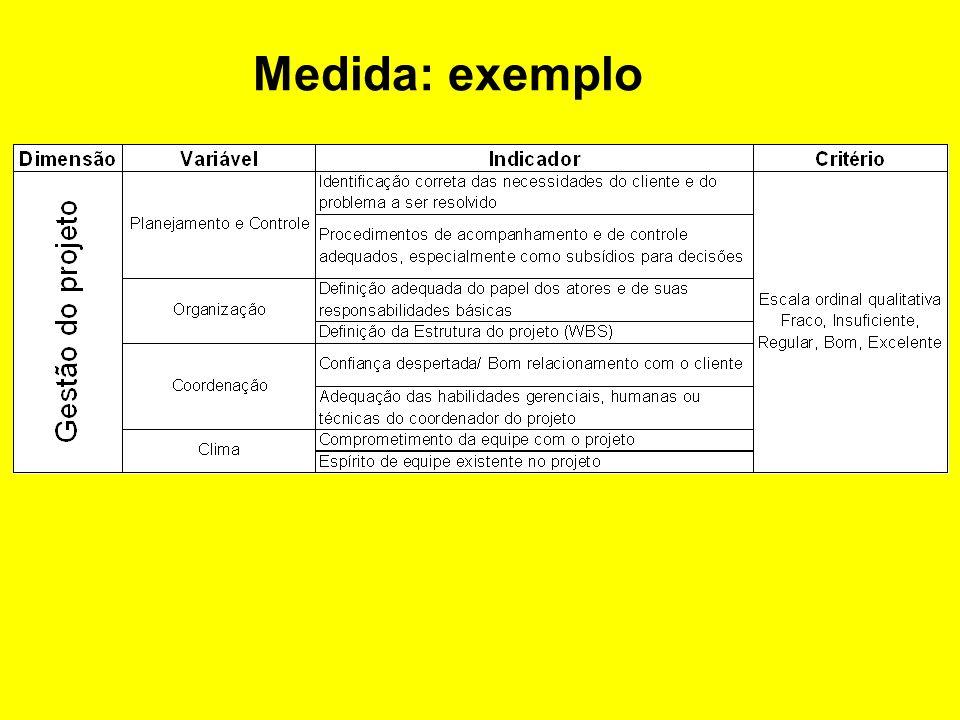 CRITÉRIOS DE SUCESSO DE PROJETOS SUCESSO PROJETO CLIENTE QUALIDADE TÉCNICA USO PRAZO CUSTO EFICÁCIA SATISFAÇÃO Pinto & Slevin, 88 Prof. Roberto Sbragi