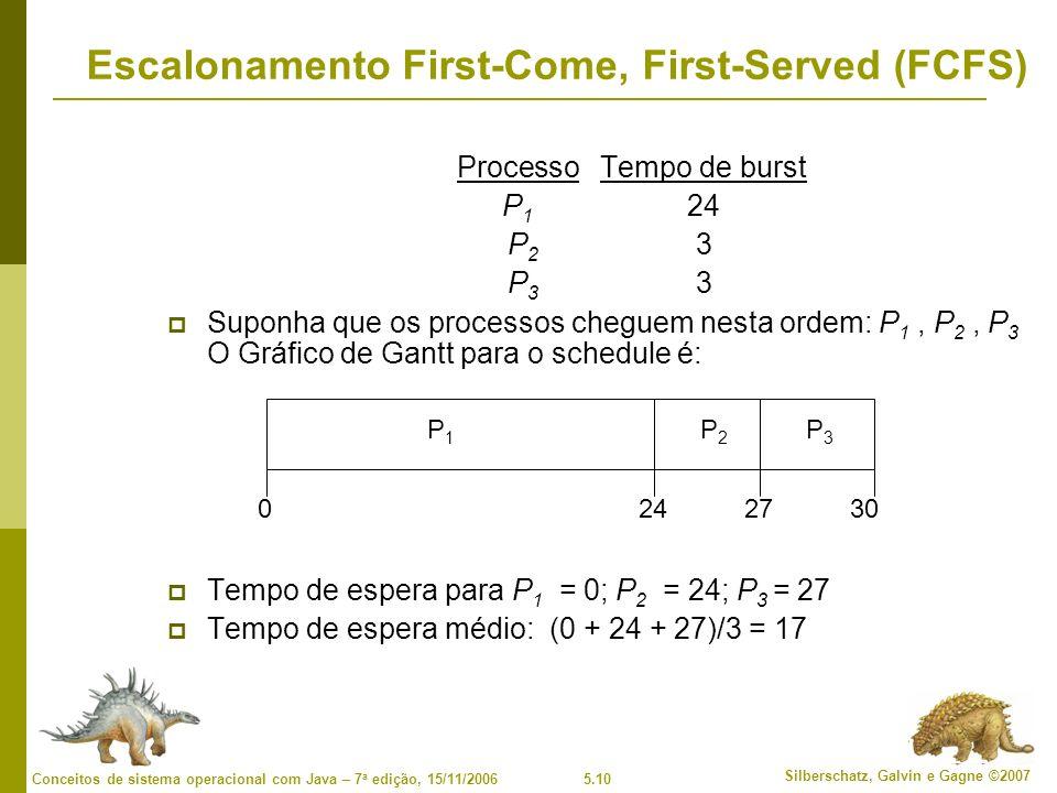 5.10 Silberschatz, Galvin e Gagne ©2007 Conceitos de sistema operacional com Java – 7 a edição, 15/11/2006 Escalonamento First-Come, First-Served (FCFS) ProcessoTempo de burst P 1 24 P 2 3 P 3 3 Suponha que os processos cheguem nesta ordem: P 1, P 2, P 3 O Gráfico de Gantt para o schedule é: Tempo de espera para P 1 = 0; P 2 = 24; P 3 = 27 Tempo de espera médio: (0 + 24 + 27)/3 = 17 P1P1 P2P2 P3P3 2427300