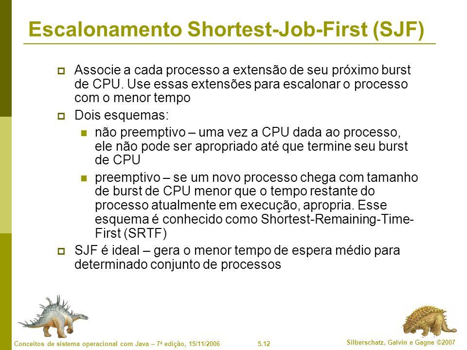 5.12 Silberschatz, Galvin e Gagne ©2007 Conceitos de sistema operacional com Java – 7 a edição, 15/11/2006 Escalonamento Shortest-Job-First (SJF) Associe a cada processo a extensão de seu próximo burst de CPU.