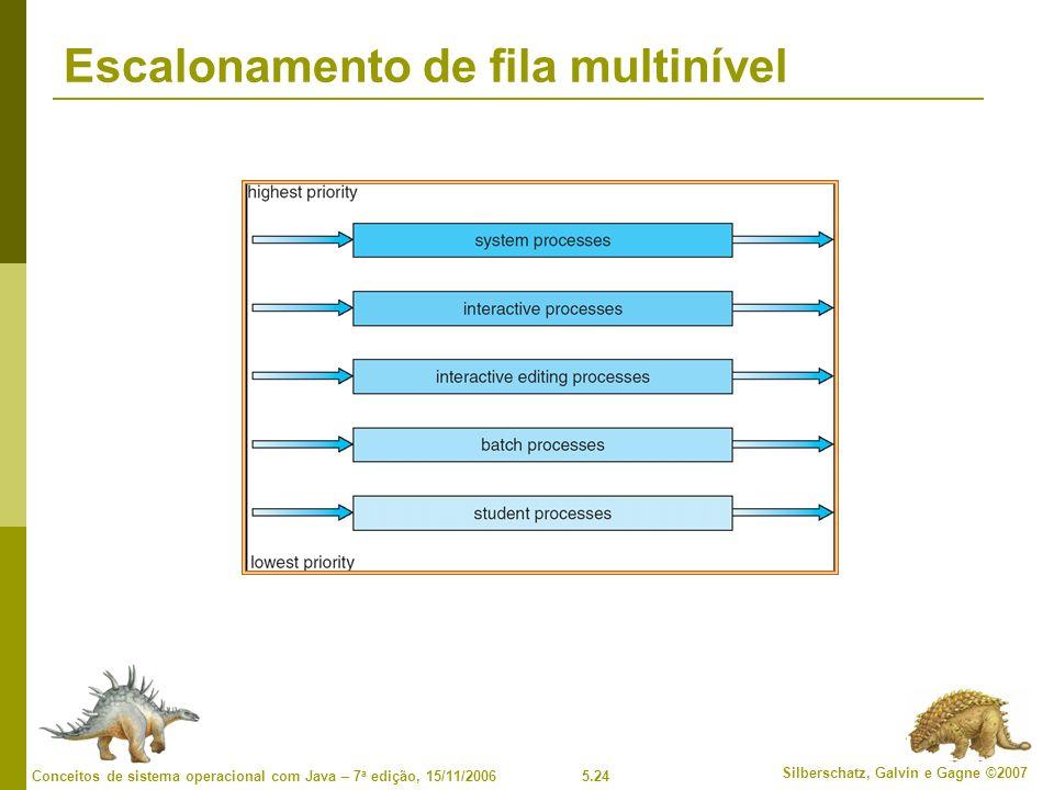 5.24 Silberschatz, Galvin e Gagne ©2007 Conceitos de sistema operacional com Java – 7 a edição, 15/11/2006 Escalonamento de fila multinível
