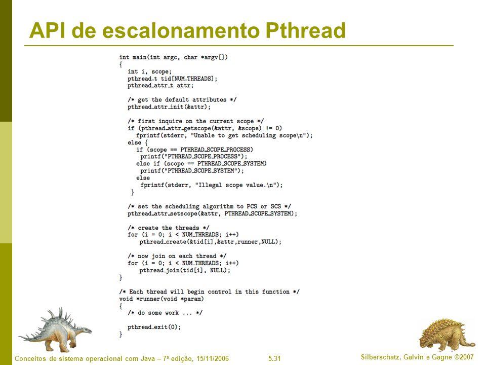 5.31 Silberschatz, Galvin e Gagne ©2007 Conceitos de sistema operacional com Java – 7 a edição, 15/11/2006 API de escalonamento Pthread