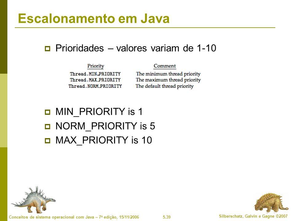 5.39 Silberschatz, Galvin e Gagne ©2007 Conceitos de sistema operacional com Java – 7 a edição, 15/11/2006 Escalonamento em Java Prioridades – valores variam de 1-10 MIN_PRIORITY is 1 NORM_PRIORITY is 5 MAX_PRIORITY is 10