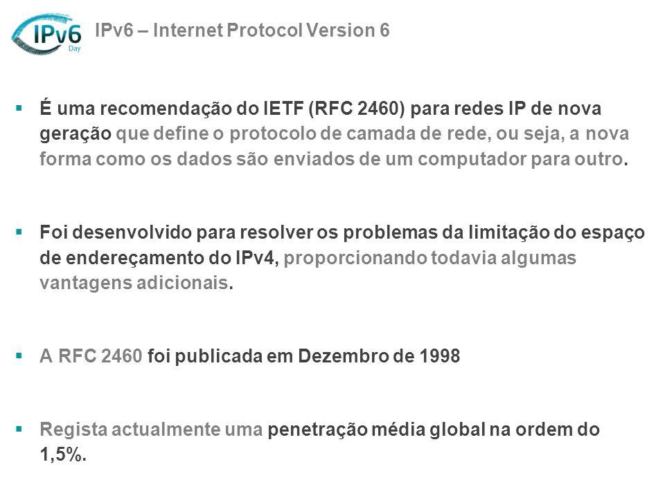IPv6 – Internet Protocol Version 6 É uma recomendação do IETF (RFC 2460) para redes IP de nova geração que define o protocolo de camada de rede, ou se