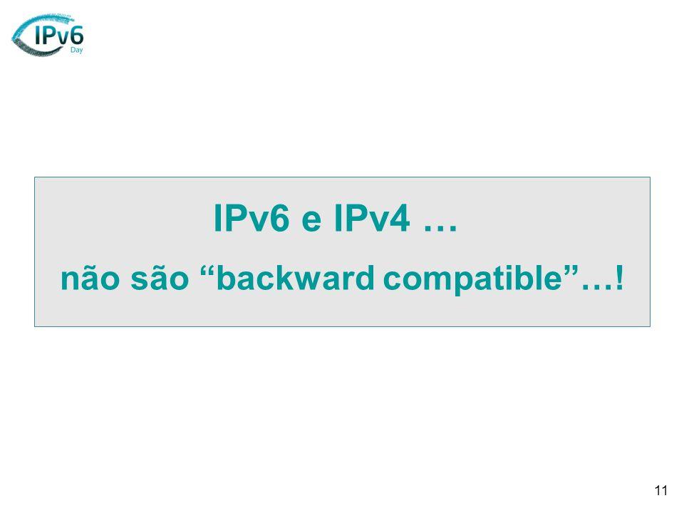 11 IPv6 e IPv4 … não são backward compatible…!