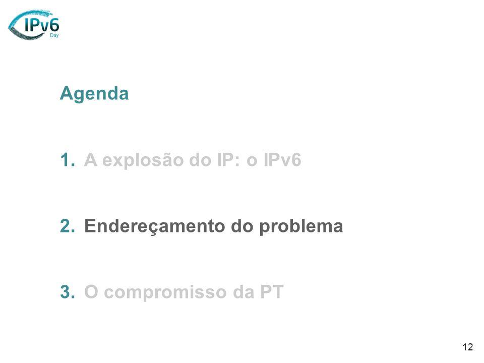 12 Agenda 1.A explosão do IP: o IPv6 2.Endereçamento do problema 3.O compromisso da PT