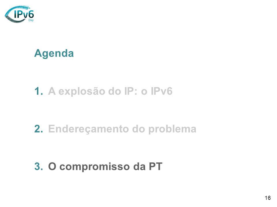 16 Agenda 1.A explosão do IP: o IPv6 2.Endereçamento do problema 3.O compromisso da PT