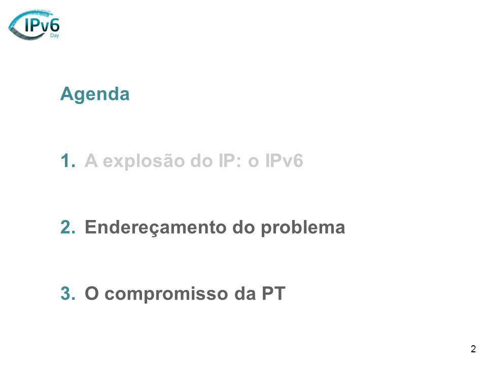 2 Agenda 1.A explosão do IP: o IPv6 2.Endereçamento do problema 3.O compromisso da PT