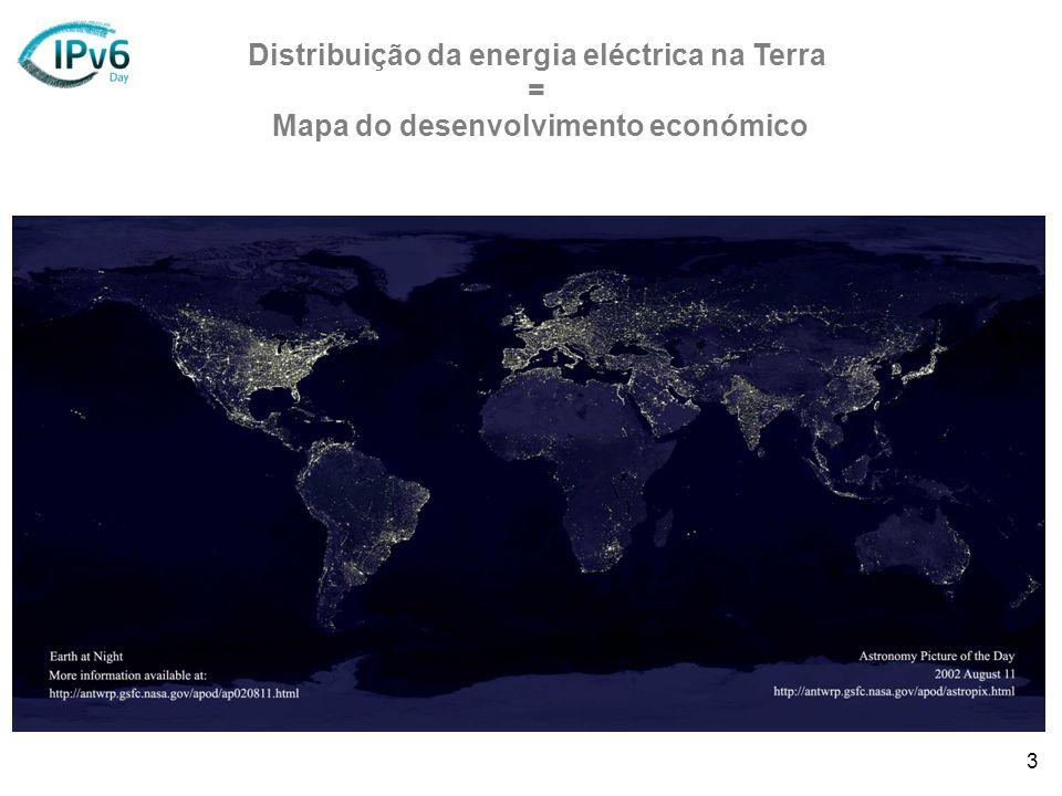 3 Distribuição da energia eléctrica na Terra = Mapa do desenvolvimento económico