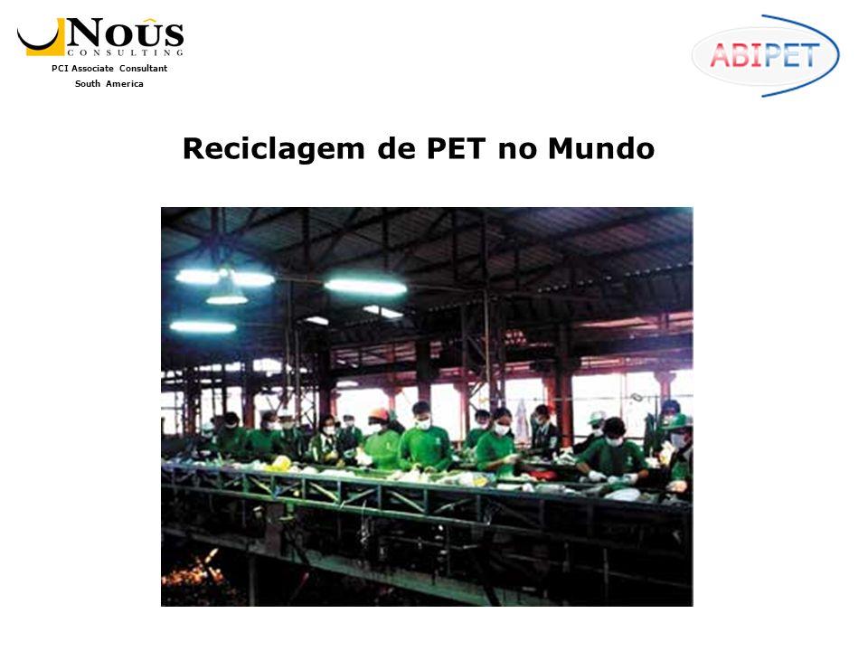 PCI Associate Consultant South America A reciclagem de PET no México ainda é incipiente, não obstante os investimentos recentes apontem para um futuro mais promissor; hoje, no entanto, vemos que das 735.000 toneladas da resina consumidas em 2006, apenas cerca de 11% foram recicladas.