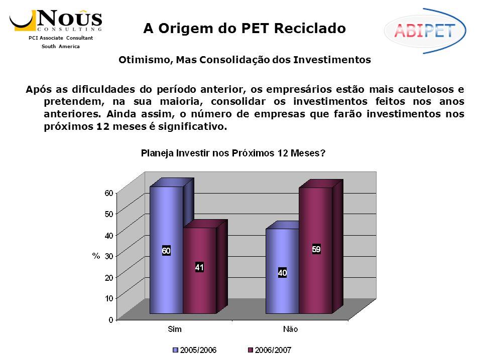PCI Associate Consultant South America Otimismo, Mas Consolidação dos Investimentos Após as dificuldades do período anterior, os empresários estão mais cautelosos e pretendem, na sua maioria, consolidar os investimentos feitos nos anos anteriores.