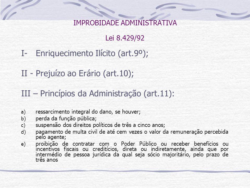 IMPROBIDADE ADMINISTRATIVA Lei 8.429/92 I- Enriquecimento Ilícito (art.9º); II - Prejuízo ao Erário (art.10); III – Princípios da Administração (art.11): a) ressarcimento integral do dano, se houver; b) perda da função pública; c) suspensão dos direitos políticos de três a cinco anos; d) pagamento de multa civil de até cem vezes o valor da remuneração percebida pelo agente; e) proibição de contratar com o Poder Público ou receber benefícios ou incentivos fiscais ou creditícios, direta ou indiretamente, ainda que por intermédio de pessoa jurídica da qual seja sócio majoritário, pelo prazo de três anos