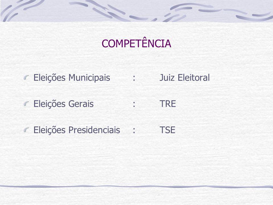 COMPETÊNCIA Eleições Municipais: Juiz Eleitoral Eleições Gerais:TRE Eleições Presidenciais:TSE