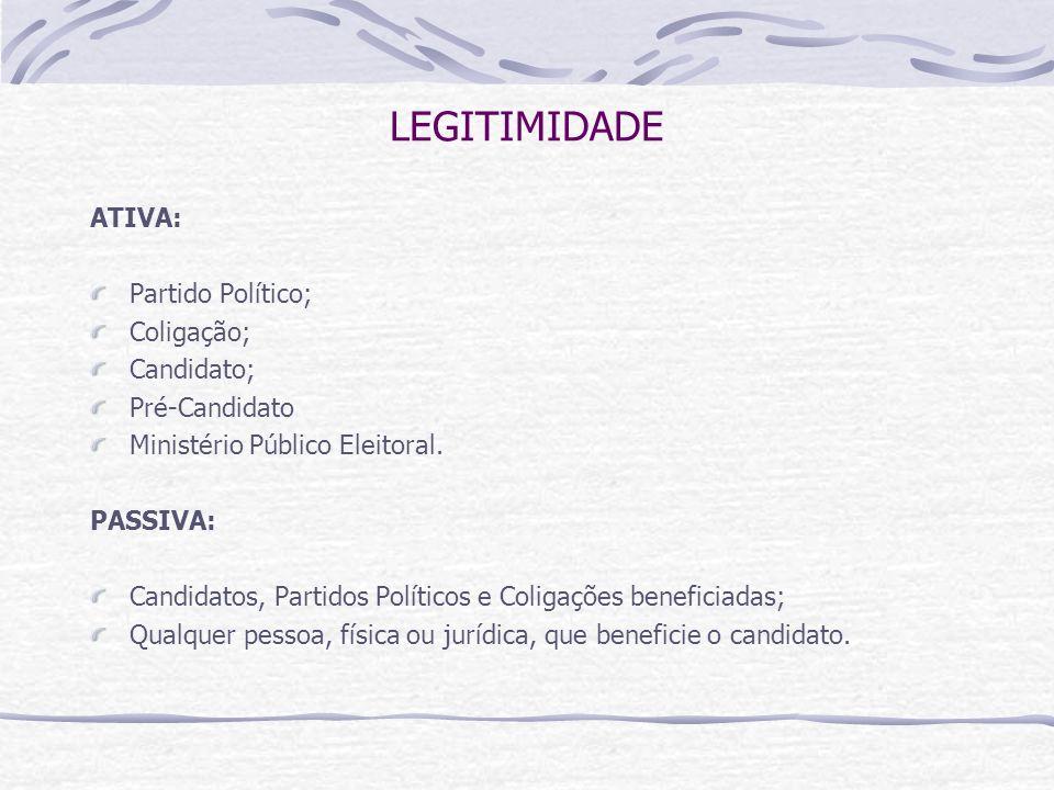 LEGITIMIDADE ATIVA: Partido Político; Coligação; Candidato; Pré-Candidato Ministério Público Eleitoral.
