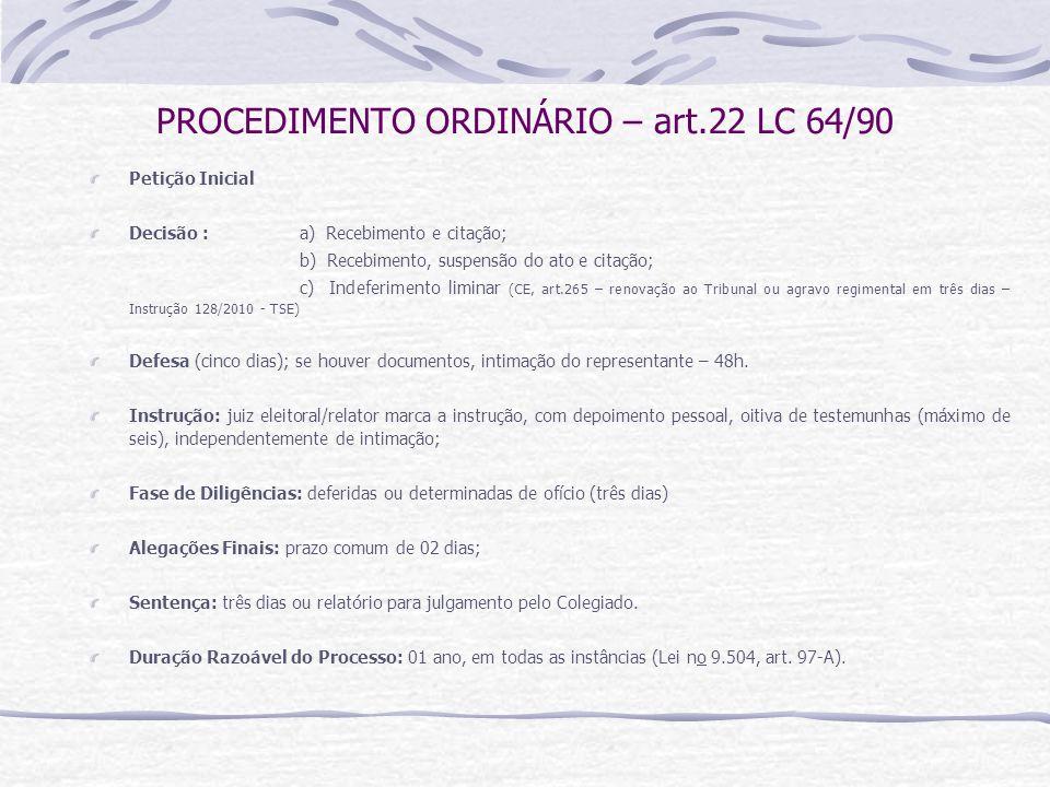 PROCEDIMENTO ORDINÁRIO – art.22 LC 64/90 Petição Inicial Decisão : a) Recebimento e citação; b) Recebimento, suspensão do ato e citação; c) Indeferimento liminar (CE, art.265 – renovação ao Tribunal ou agravo regimental em três dias – Instrução 128/2010 - TSE) Defesa (cinco dias); se houver documentos, intimação do representante – 48h.