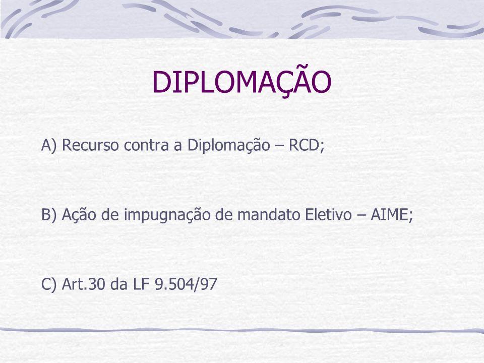 DIPLOMAÇÃO A) Recurso contra a Diplomação – RCD; B) Ação de impugnação de mandato Eletivo – AIME; C) Art.30 da LF 9.504/97