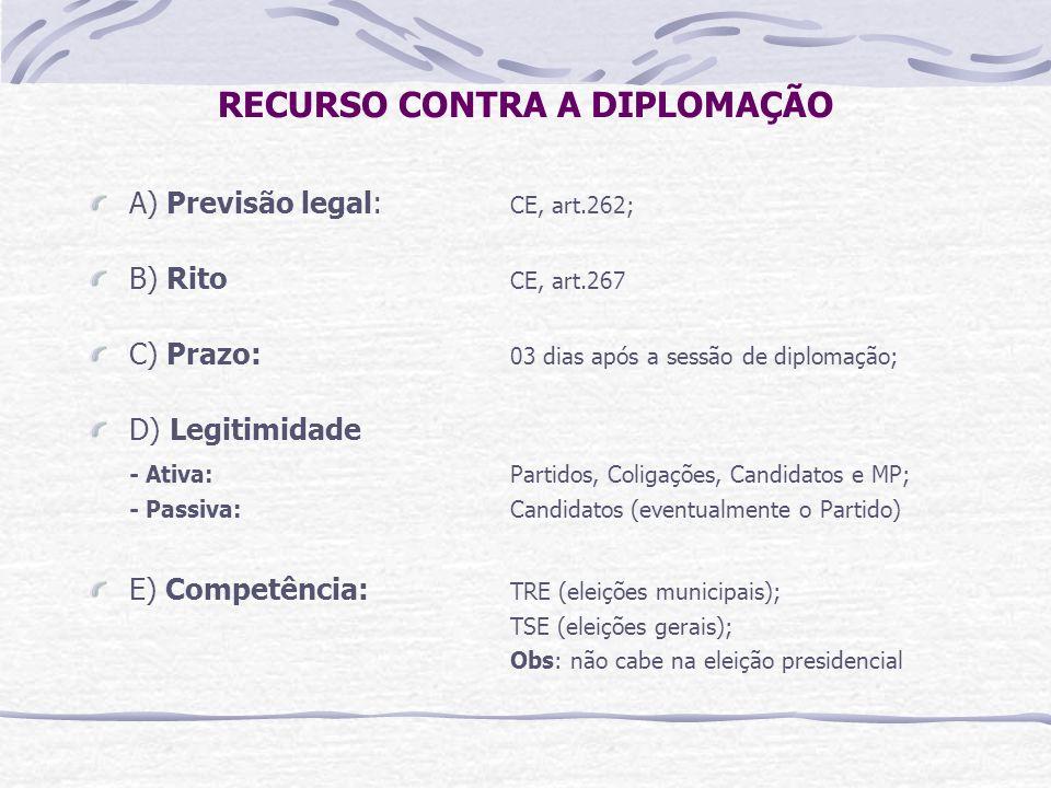 RECURSO CONTRA A DIPLOMAÇÃO A) Previsão legal: CE, art.262; B) Rito CE, art.267 C) Prazo: 03 dias após a sessão de diplomação; D) Legitimidade - Ativa: Partidos, Coligações, Candidatos e MP; - Passiva: Candidatos (eventualmente o Partido) E) Competência: TRE (eleições municipais); TSE (eleições gerais); Obs: não cabe na eleição presidencial