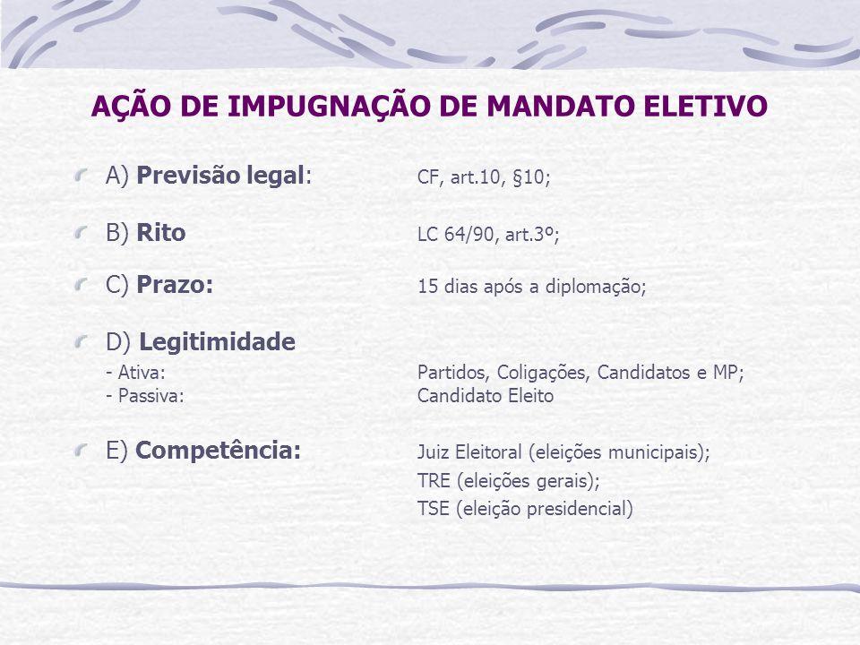 AÇÃO DE IMPUGNAÇÃO DE MANDATO ELETIVO A) Previsão legal: CF, art.10, §10; B) Rito LC 64/90, art.3º; C) Prazo: 15 dias após a diplomação; D) Legitimidade - Ativa: Partidos, Coligações, Candidatos e MP; - Passiva: Candidato Eleito E) Competência: Juiz Eleitoral (eleições municipais); TRE (eleições gerais); TSE (eleição presidencial)