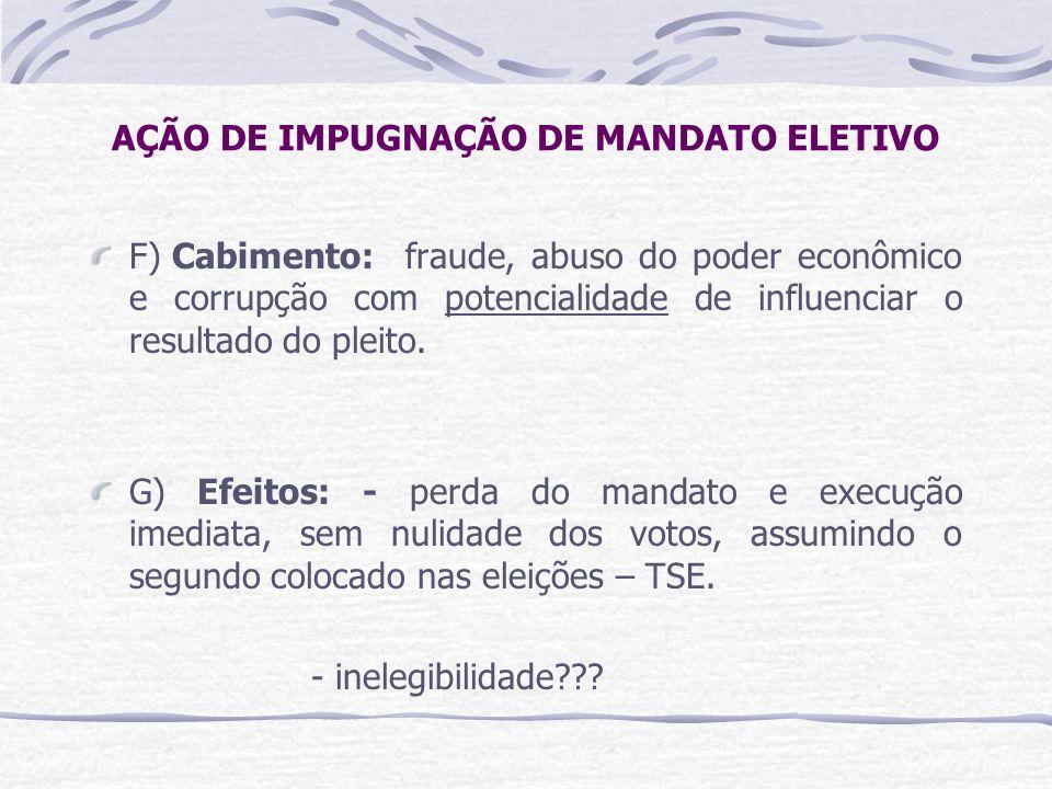AÇÃO DE IMPUGNAÇÃO DE MANDATO ELETIVO F) Cabimento:fraude, abuso do poder econômico e corrupção com potencialidade de influenciar o resultado do pleito.
