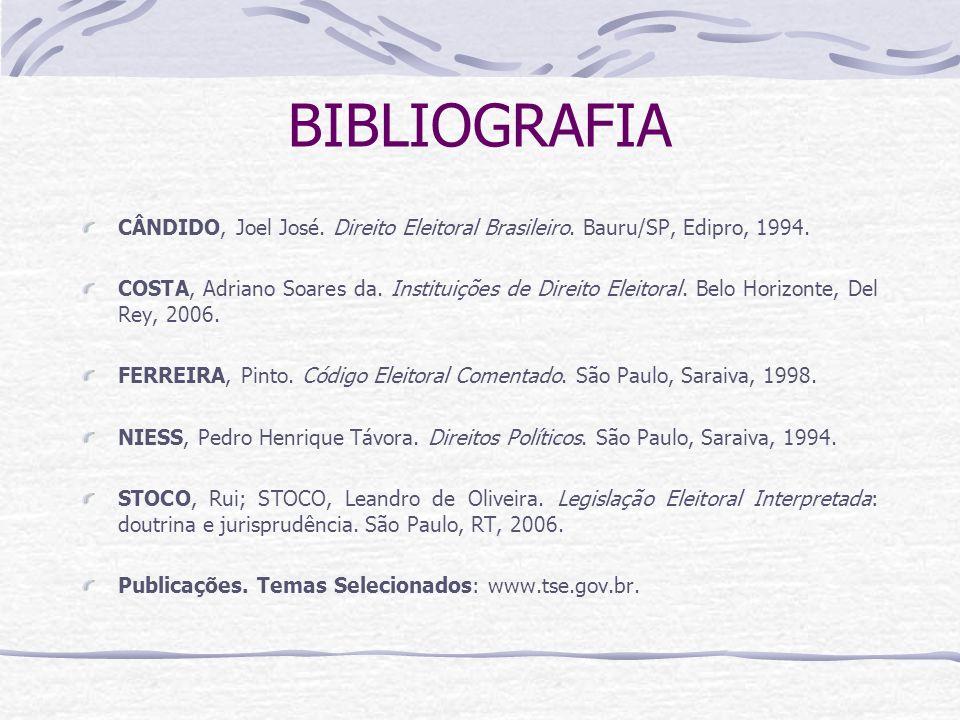 BIBLIOGRAFIA CÂNDIDO, Joel José.Direito Eleitoral Brasileiro.