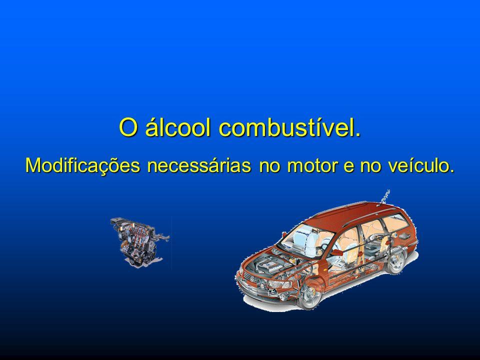 O álcool combustível. Modificações necessárias no motor e no veículo.