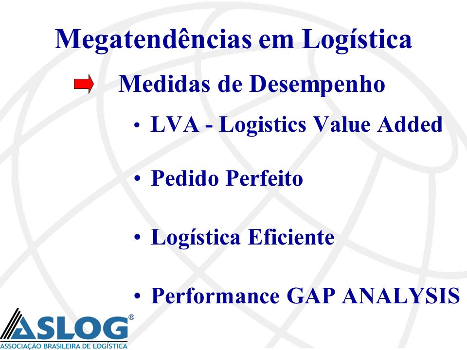 Megatendências em Logística Medidas de Desempenho LVA - Logistics Value Added Pedido Perfeito Logística Eficiente Performance GAP ANALYSIS