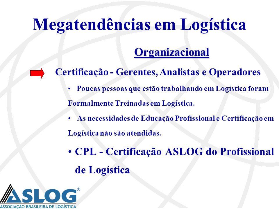 Megatendências em Logística Organizacional Certificação - Gerentes, Analistas e Operadores Poucas pessoas que estão trabalhando em Logística foram For