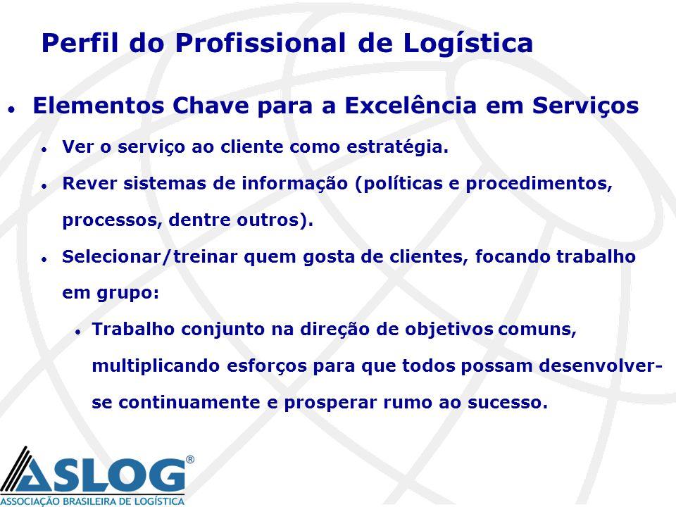 Perfil do Profissional de Logística l Elementos Chave para a Excelência em Serviços l Ver o serviço ao cliente como estratégia. l Rever sistemas de in