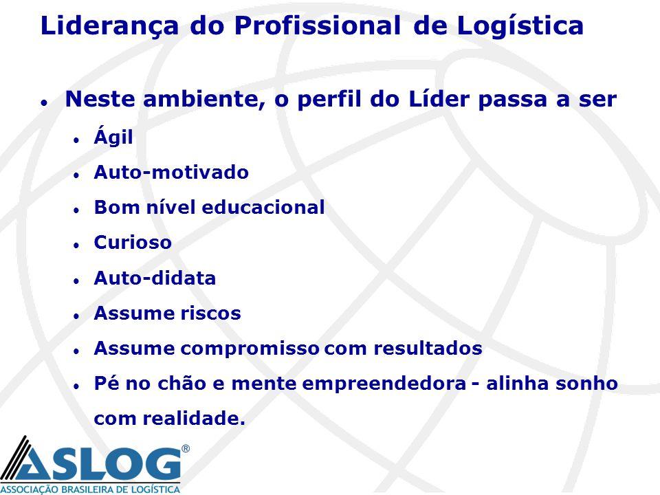 Liderança do Profissional de Logística l Neste ambiente, o perfil do Líder passa a ser l Ágil l Auto-motivado l Bom nível educacional l Curioso l Auto