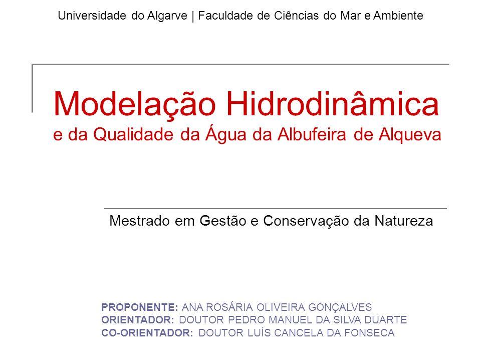 Modelação Hidrodinâmica e da Qualidade da Água da Albufeira de Alqueva Mestrado em Gestão e Conservação da Natureza Universidade do Algarve   Faculdad