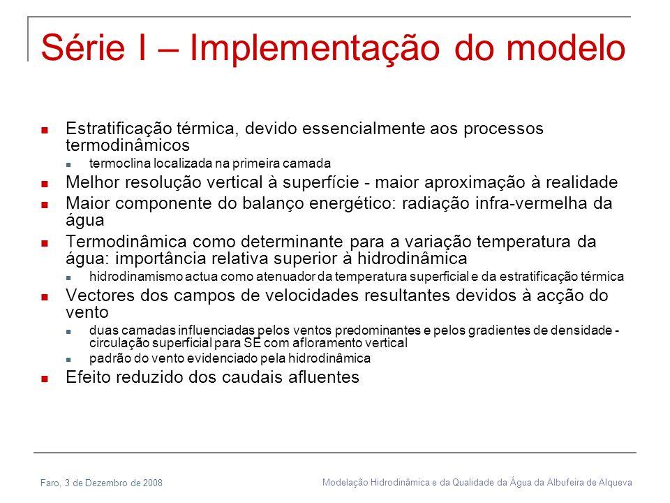 Faro, 3 de Dezembro de 2008 Modelação Hidrodinâmica e da Qualidade da Água da Albufeira de Alqueva Série I – Implementação do modelo Estratificação té
