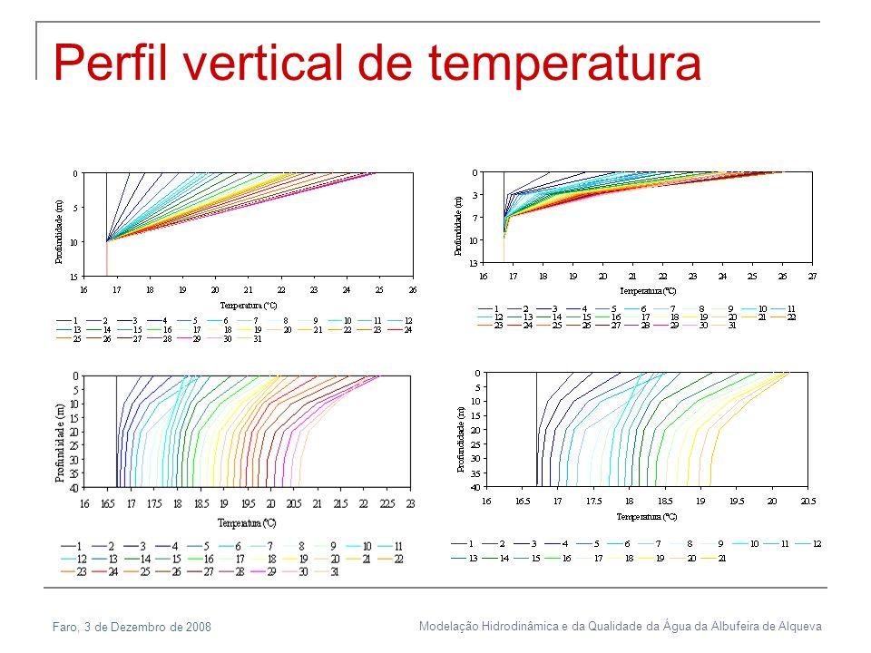 Faro, 3 de Dezembro de 2008 Modelação Hidrodinâmica e da Qualidade da Água da Albufeira de Alqueva Perfil vertical de temperatura
