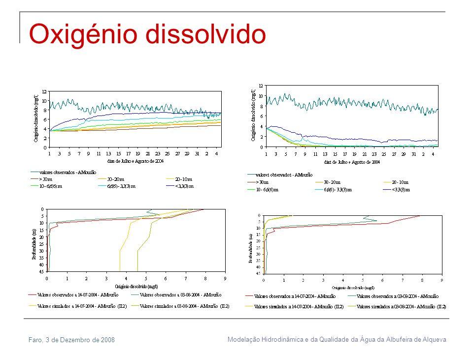 Faro, 3 de Dezembro de 2008 Modelação Hidrodinâmica e da Qualidade da Água da Albufeira de Alqueva Oxigénio dissolvido