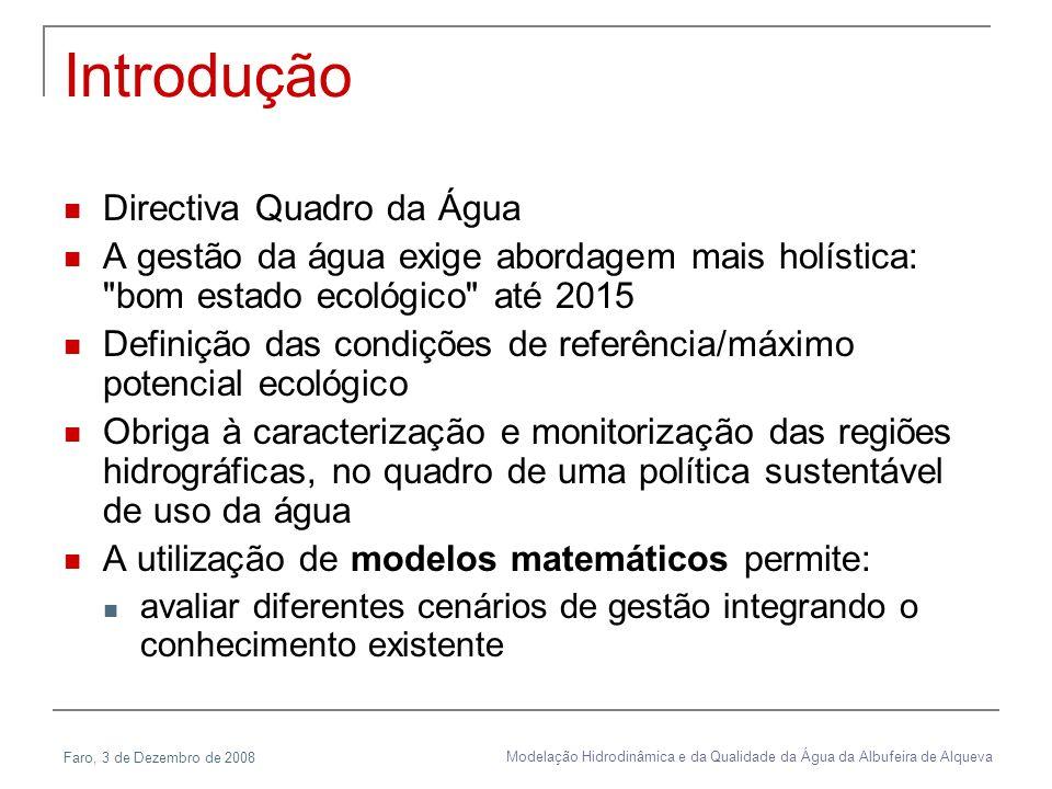 Faro, 3 de Dezembro de 2008 Modelação Hidrodinâmica e da Qualidade da Água da Albufeira de Alqueva Introdução Directiva Quadro da Água A gestão da águ