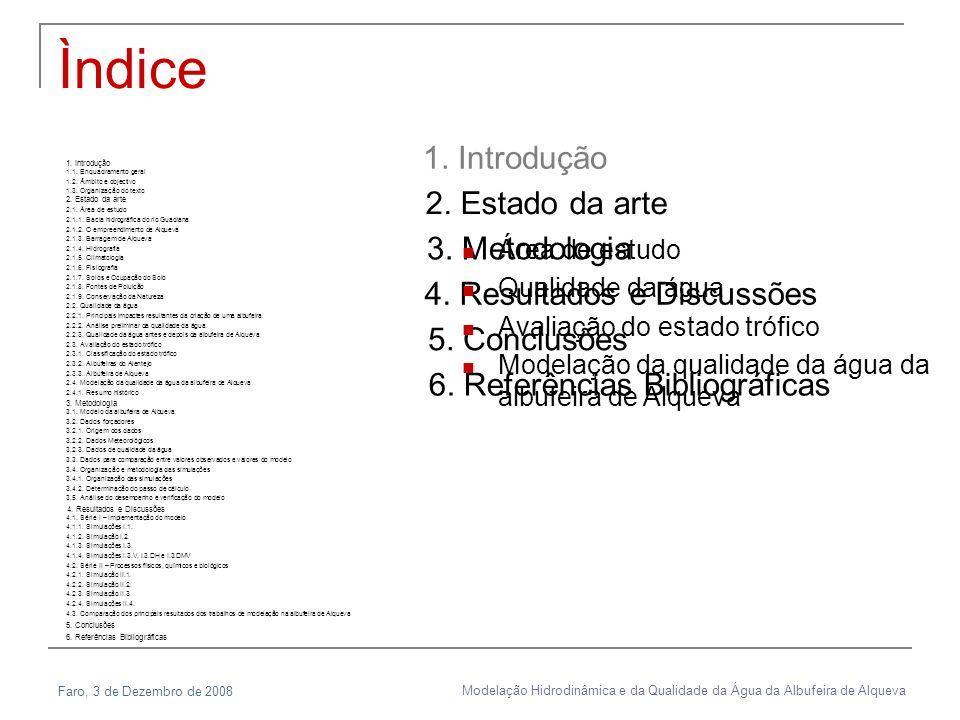 Faro, 3 de Dezembro de 2008 Modelação Hidrodinâmica e da Qualidade da Água da Albufeira de Alqueva 2. Estado da arte 1.1. Enquadramento geral 1.2. Âmb