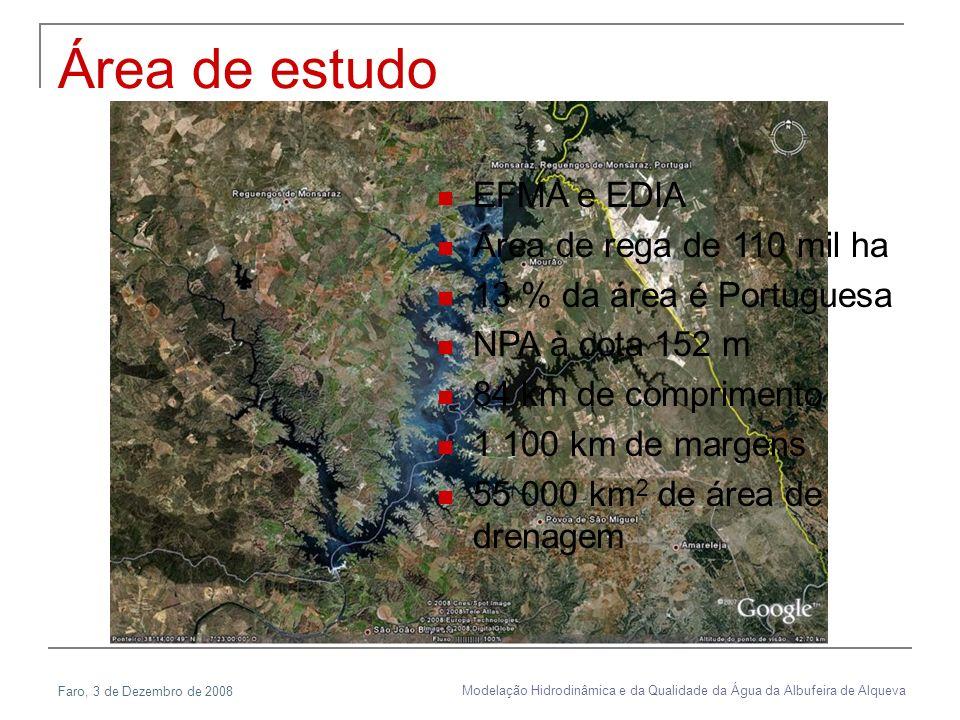 Faro, 3 de Dezembro de 2008 Modelação Hidrodinâmica e da Qualidade da Água da Albufeira de Alqueva Área de estudo EFMA e EDIA Área de rega de 110 mil