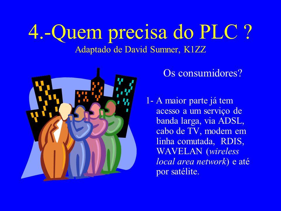 4.-Quem precisa do PLC .Adaptado de David Sumner, K1ZZ Os consumidores.