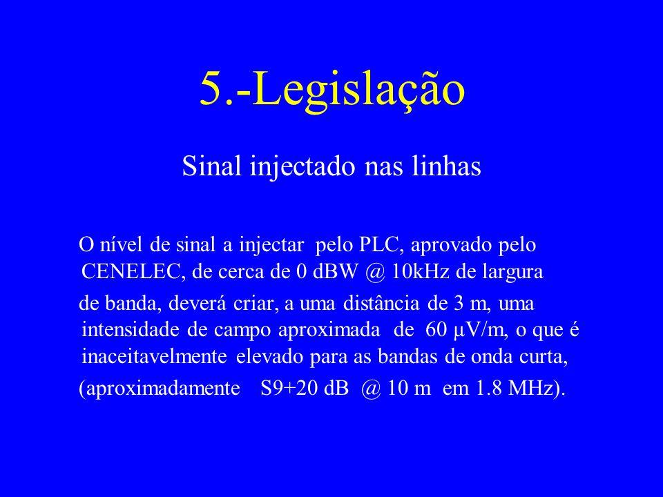 5.-Legislação Sinal injectado nas linhas O nível de sinal a injectar pelo PLC, aprovado pelo CENELEC, de cerca de 0 dBW @ 10kHz de largura de banda, deverá criar, a uma distância de 3 m, uma intensidade de campo aproximada de 60 µV/m, o que é inaceitavelmente elevado para as bandas de onda curta, (aproximadamente S9+20 dB @ 10 m em 1.8 MHz).