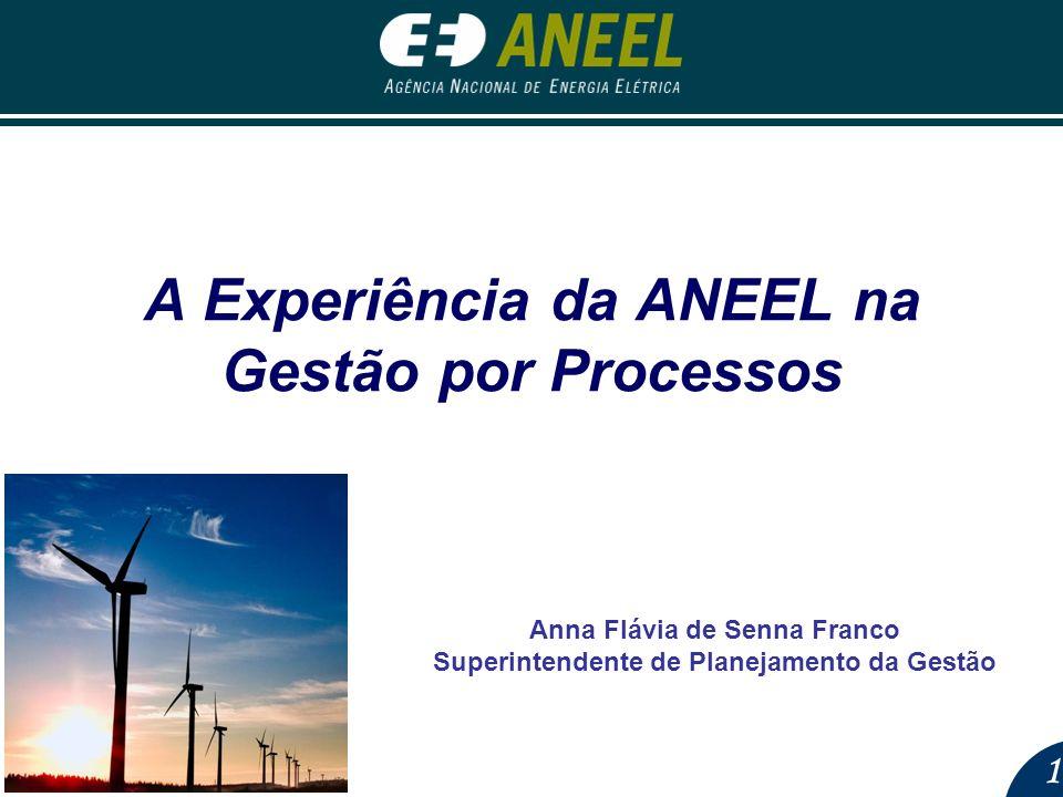 1 A Experiência da ANEEL na Gestão por Processos Anna Flávia de Senna Franco Superintendente de Planejamento da Gestão