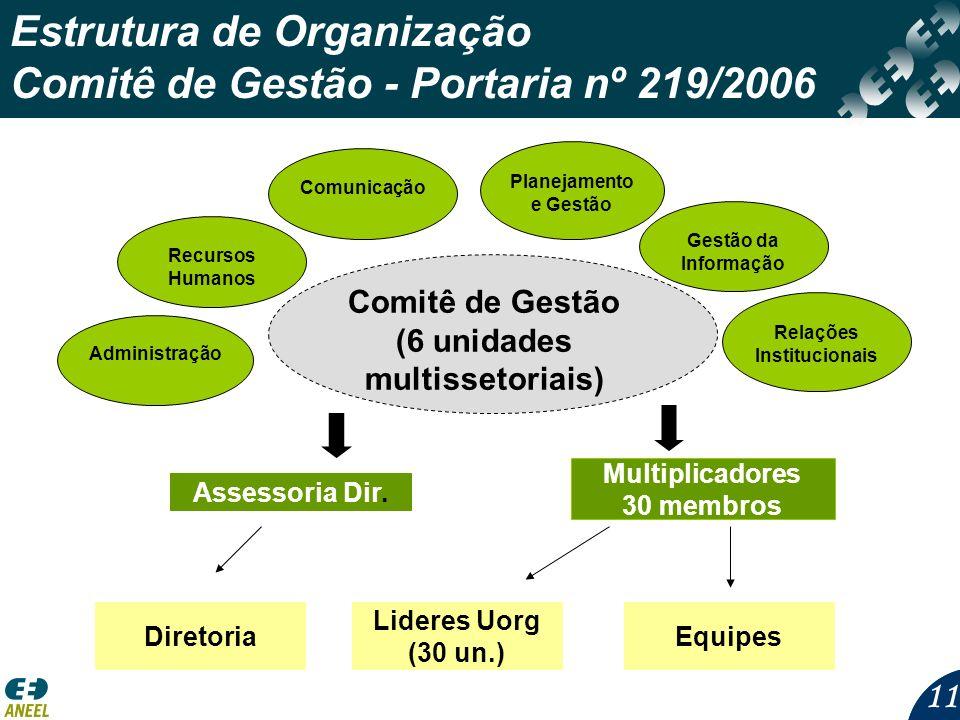 11 Estrutura de Organização Comitê de Gestão - Portaria nº 219/2006 Planejamento e Gestão Comunicação Comitê de Gestão (6 unidades multissetoriais) Gestão da Informação Relações Institucionais AdministraçãoRecursos Humanos Multiplicadores 30 membros Assessoria Dir.