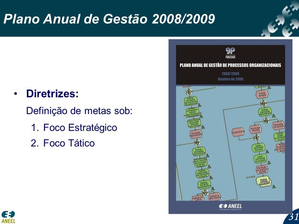 31 Plano Anual de Gestão 2008/2009 Diretrizes: Definição de metas sob: 1.Foco Estratégico 2.Foco Tático