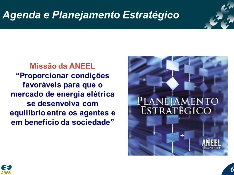 66 Agenda e Planejamento Estratégico Missão da ANEEL Proporcionar condições favoráveis para que o mercado de energia elétrica se desenvolva com equilí