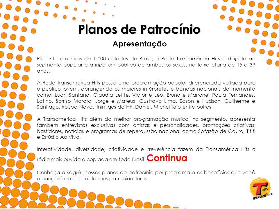 Apresentação Presente em mais de 1.000 cidades do Brasil, a Rede Transamérica Hits é dirigida ao segmento popular e atinge um público de ambos os sexo
