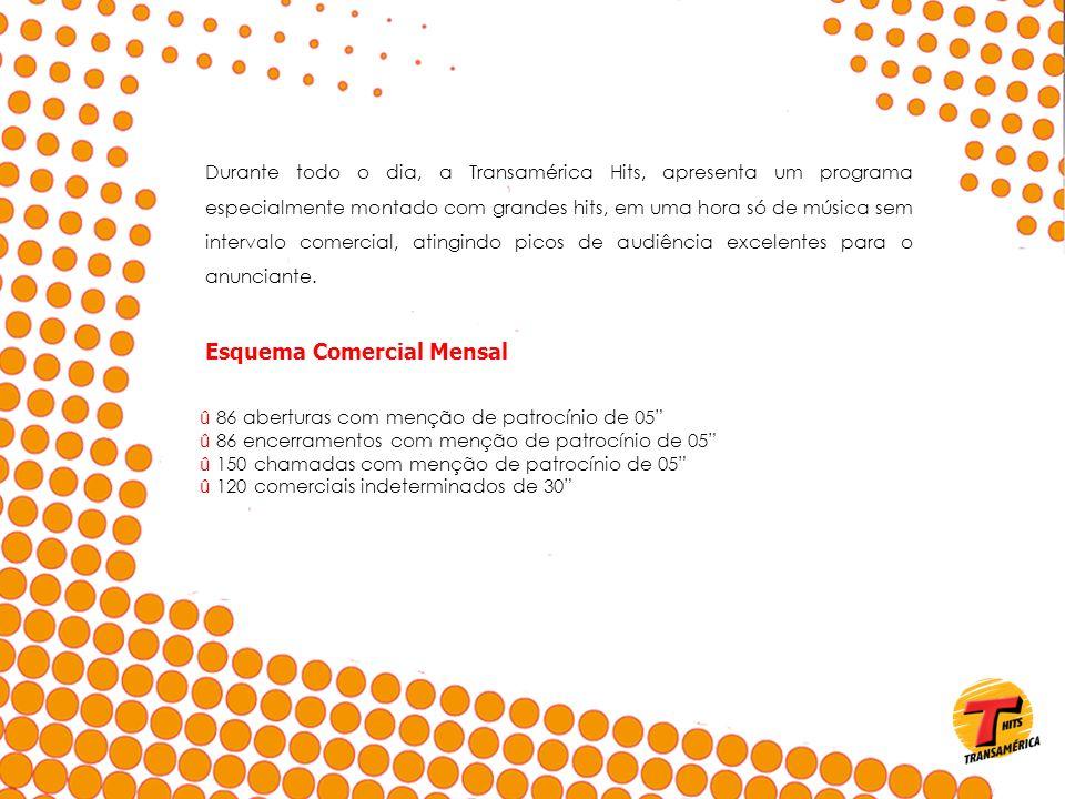 Esquema Comercial Mensal û 86 aberturas com menção de patrocínio de 05 û 86 encerramentos com menção de patrocínio de 05 û 150 chamadas com menção de