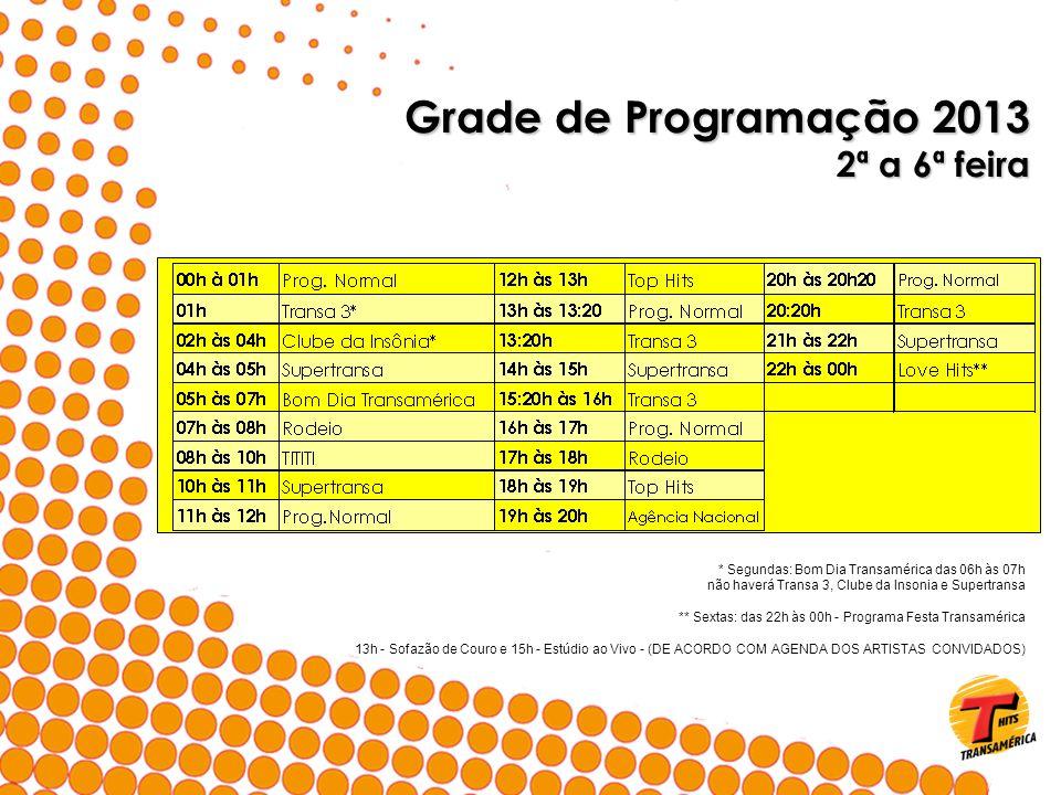 Grade de Programação 2013 2ª a 6ª feira * Segundas: Bom Dia Transamérica das 06h às 07h não haverá Transa 3, Clube da Insonia e Supertransa ** Sextas: