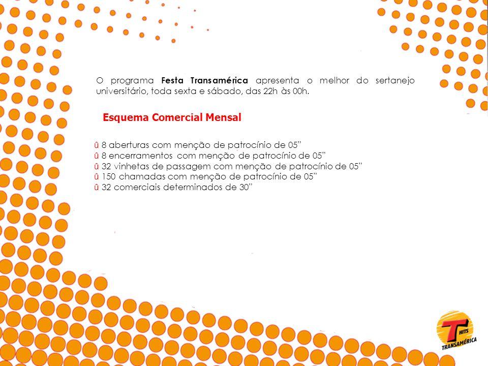 O programa Festa Transamérica apresenta o melhor do sertanejo universitário, toda sexta e sábado, das 22h às 00h. Esquema Comercial Mensal û 8 abertur