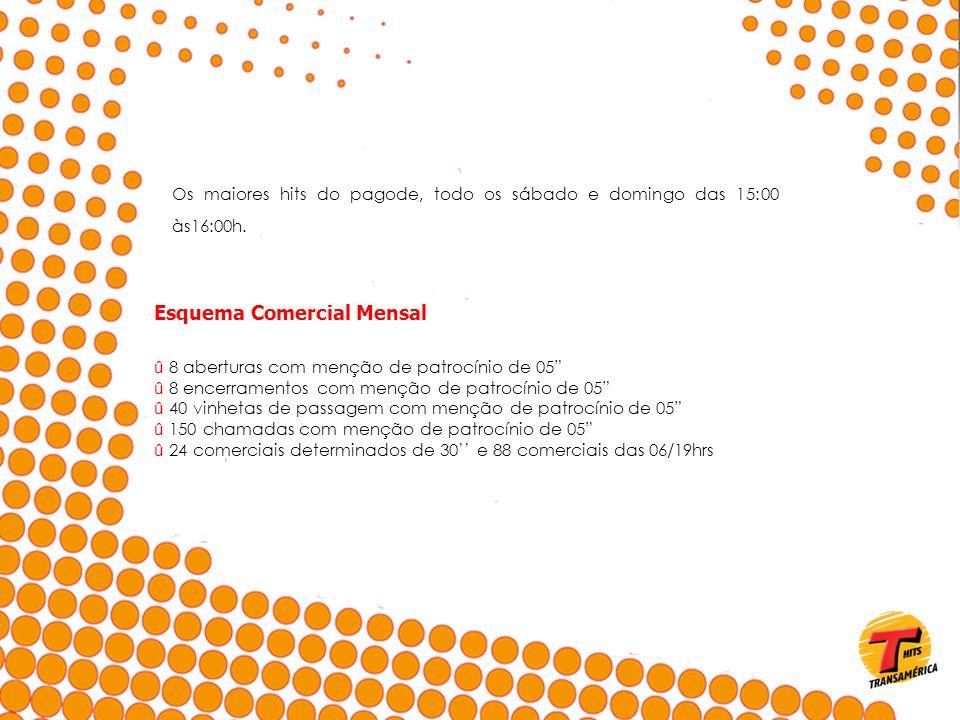 Os maiores hits do pagode, todo os sábado e domingo das 15:00 às16:00h. Esquema Comercial Mensal û 8 aberturas com menção de patrocínio de 05 û 8 ence