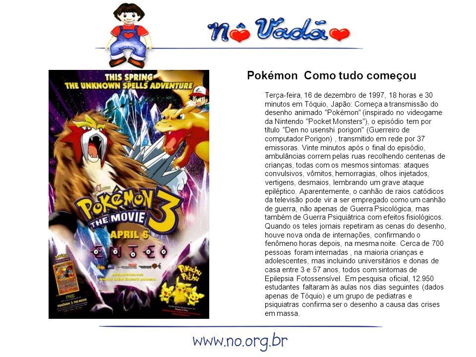 Pokémon Como tudo começou Terça-feira, 16 de dezembro de 1997, 18 horas e 30 minutos em Tóquio, Japão: Começa a transmissão do desenho animado Pokémon (inspirado no videogame da Nintendo Pocket Monsters ), o episódio tem por título Den no usenshi porigon (Guerreiro de computador Porigon), transmitido em rede por 37 emissoras.